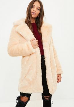 Cream Faux Fur Slim Coat