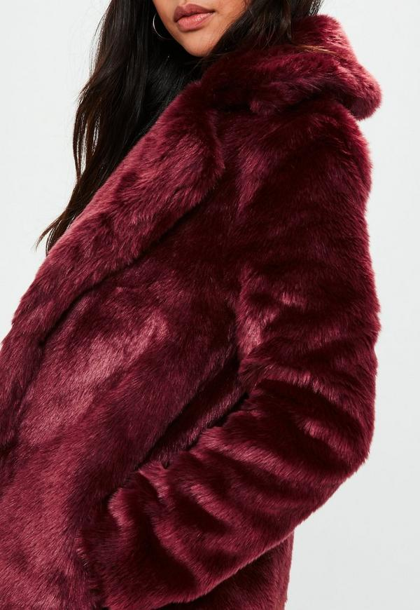 Burgundy Faux Fur Slim Coat Missguided