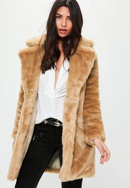 Camel Faux Fur Slim Coat
