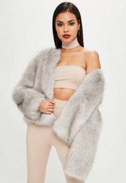 Carli Bybel x Missguided Gray Faux Fur Jacket
