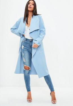 Light Blue Oversized Waterfall Duster Coat