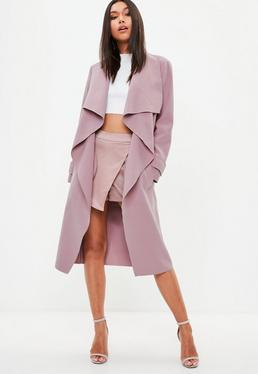 Mauve Oversized Waterfall Duster Coat