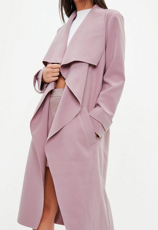 Mauve Oversized Waterfall Duster Coat Missguided