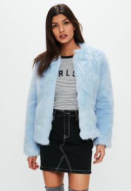 Light Blue Collarless Faux Fur Coat
