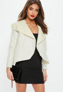 White Faux Shearling Waterfall Jacket