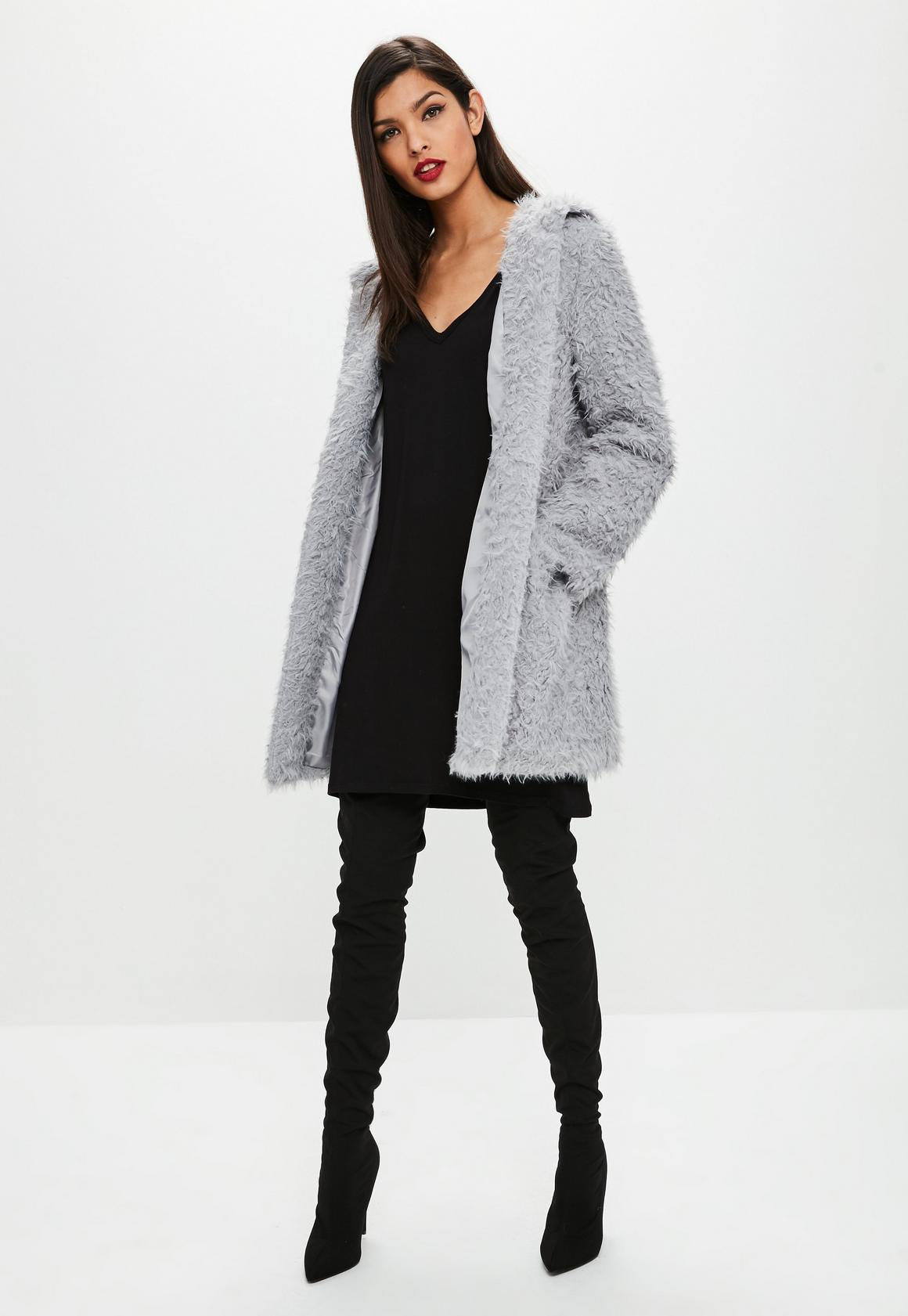 Gray Shaggy Longline Faux Fur Coat | Missguided