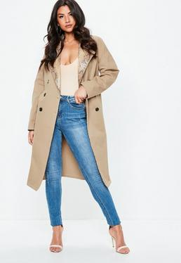 Nude Snake skin Contrast Lapel Trench Coat