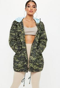 Khaki Digital Camo Quilted Parka