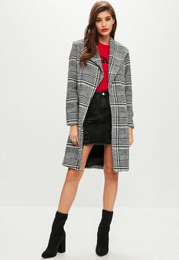 Black Checked Formal Coat
