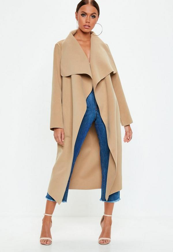Camel Oversized Waterfall Duster Coat | Missguided