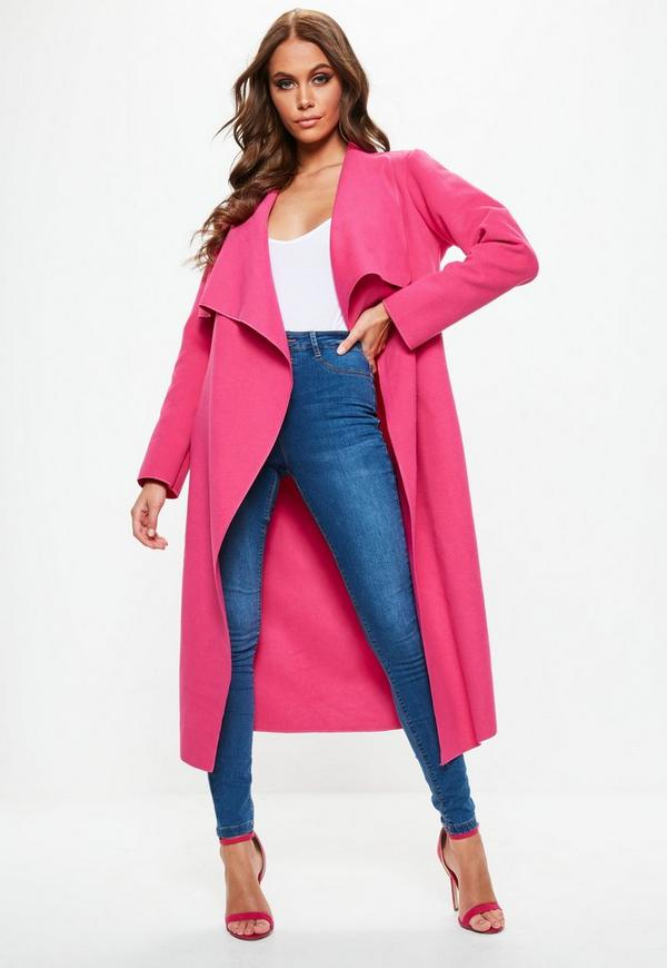 58e9d8e7b9125 MISSGUIDED. PINK OVERSIZED WATERFALL DUSTER COAT