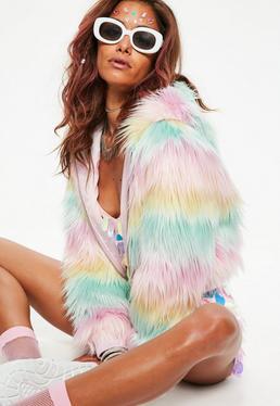 Pink Pastel Stripe Hooded Faux Fur Jacket