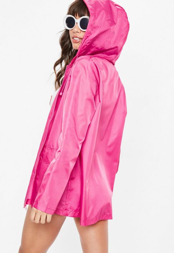 leichte regenjacke mit kapuze in pink missguided. Black Bedroom Furniture Sets. Home Design Ideas