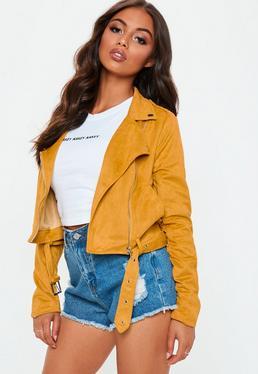 Yellow Faux Suede Biker Jacket