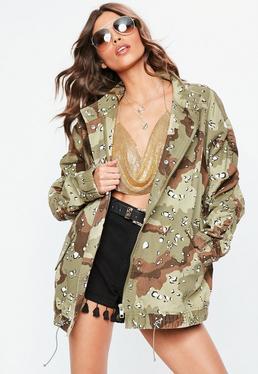 Khaki Camo Ruched Sleeve Parka Jacket