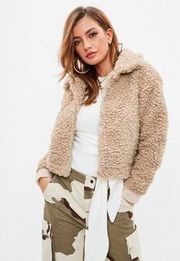 Beige Curly Borg Bomber Jacket