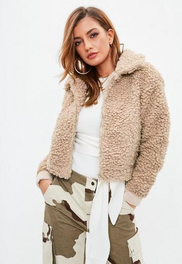 Missguided Beige Curly Borg Bomber Jacket, Brown