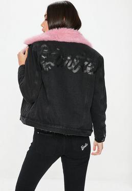 Barbie x Missguided Czarna jeansowa kurtka z futerkiem