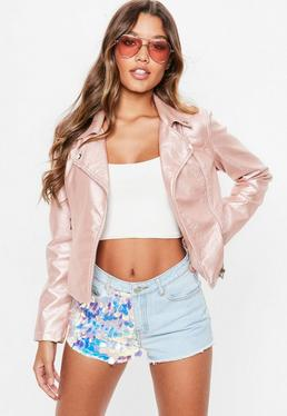 Rose Gold Faux Leather Biker Jacket