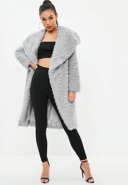 Gray Longline Shaggy Faux Fur Coat