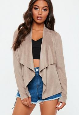 Grey Faux Suede Waterfall Jacket