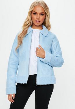 Blue Faux Fur Trim Aviator Jacket