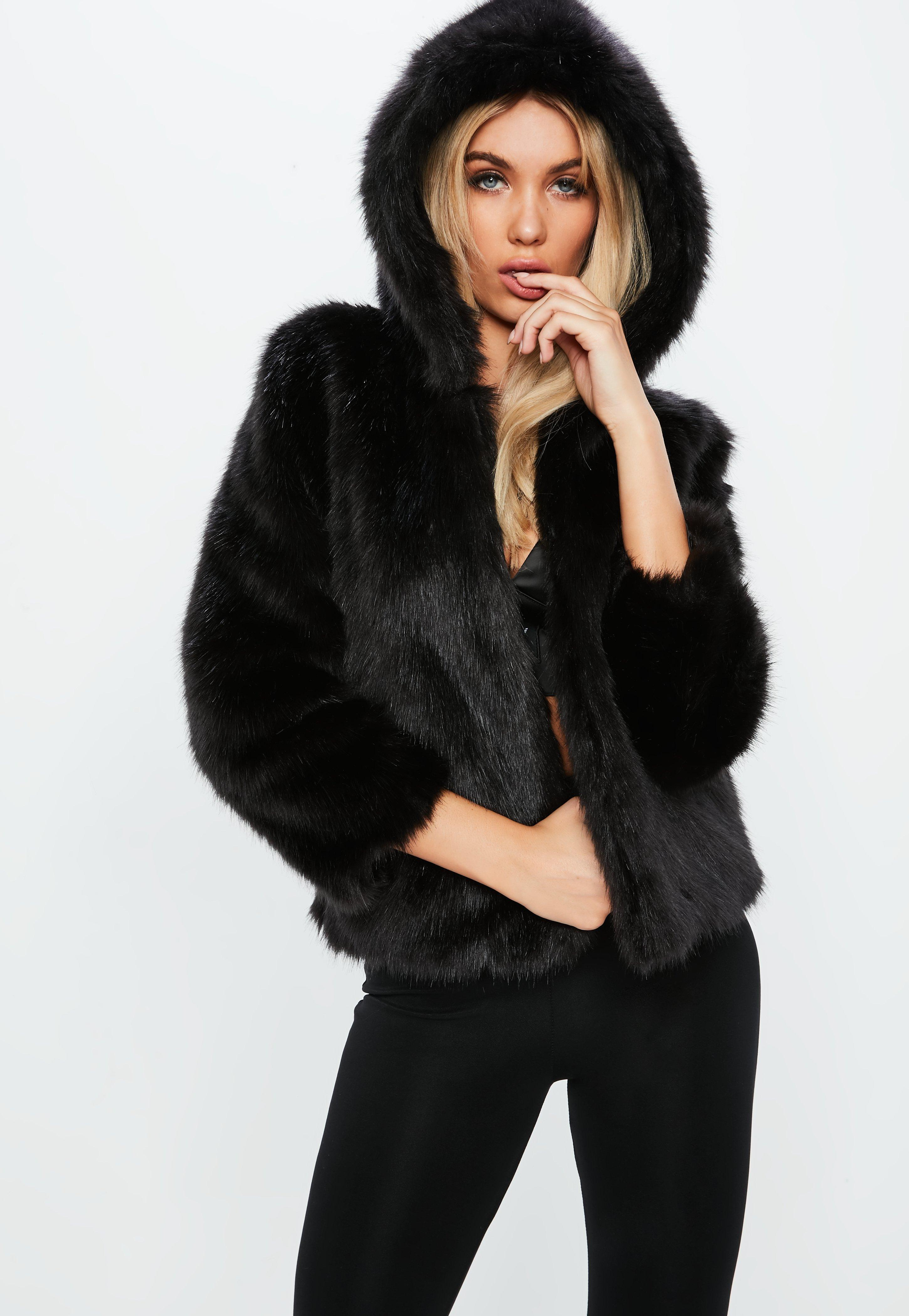 890d090e1 Fanny Lyckman x Missguided Black Hooded Faux Fur Jacket | Missguided