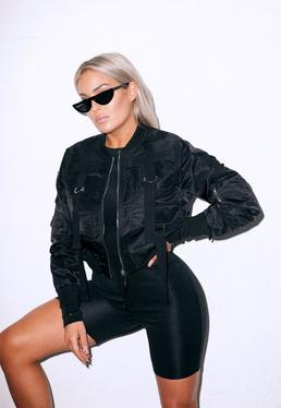 Fanny Lyckman x Missguided Black Cropped Bomber Jacket
