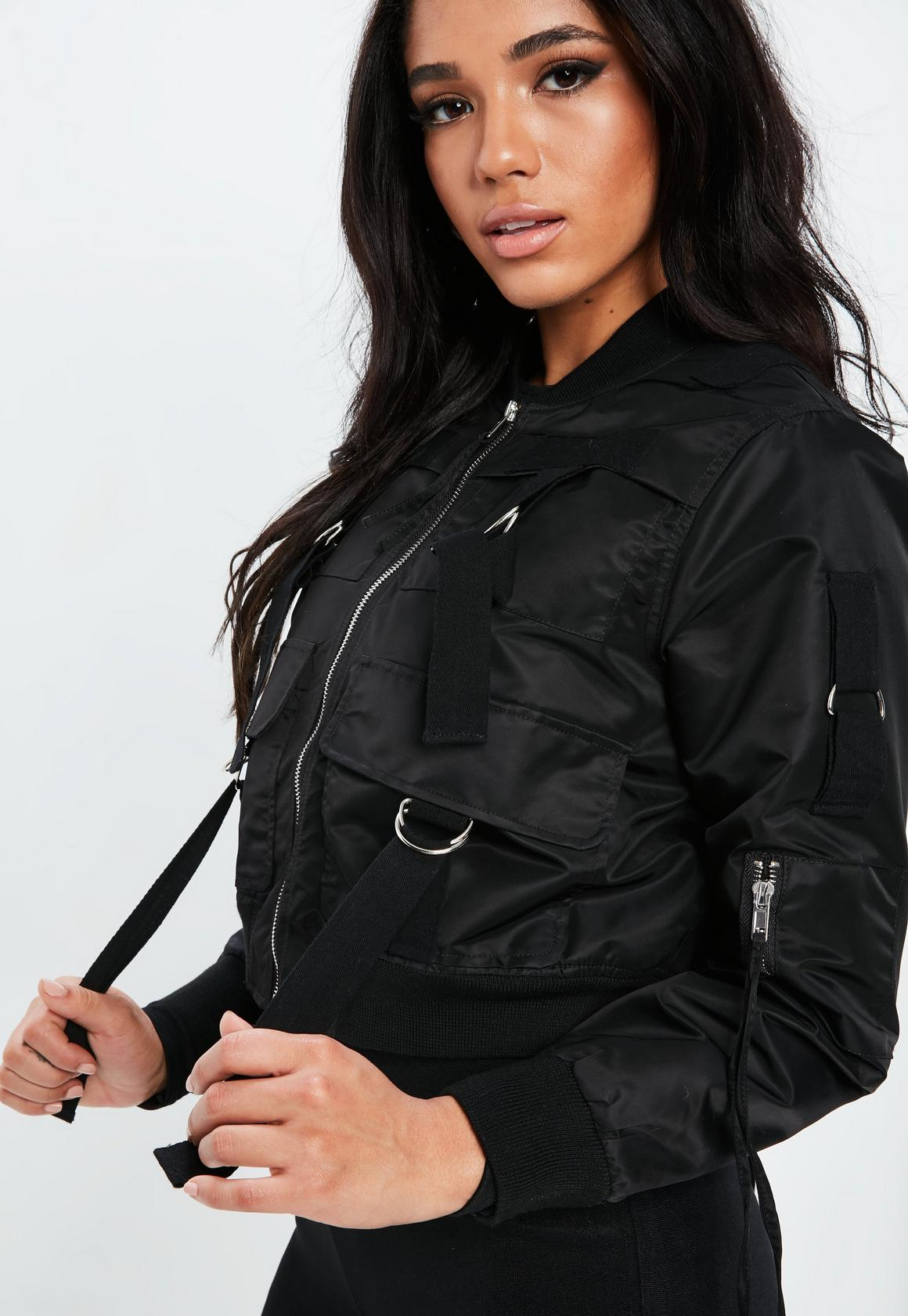 0703e449a Fanny Lyckman x Missguided Black Cropped Bomber Jacket, Black