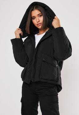 4a8e95f82c8 Black Puffer Jackets. Hooded Puffer Jackets. Long Puffer Coats