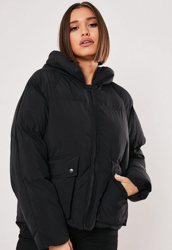 Black Hooded Ultimate Puffer Jacket Missguided