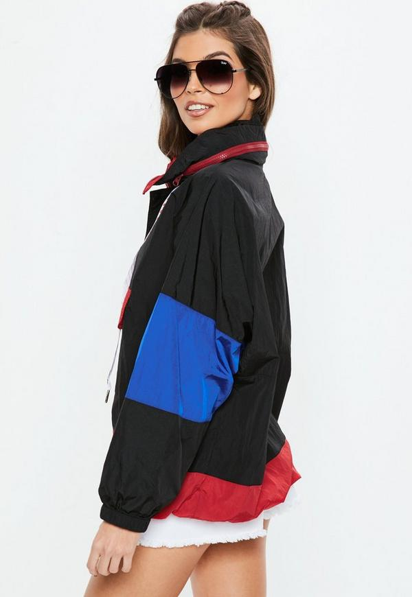 Black Slogan Tape Batwing Windbreaker by Missguided