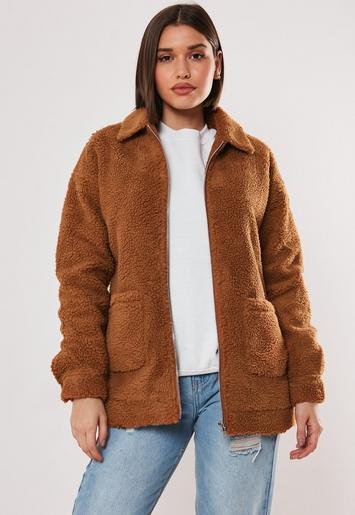 Rust Oversized Borg Zip Through Teddy Jacket Missguided