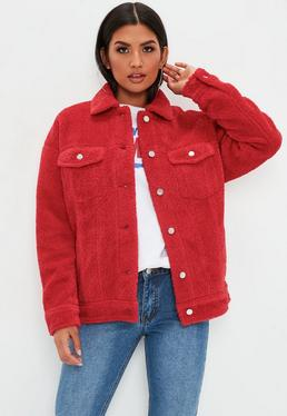 Red Oversized Borg Trucker Teddy Jacket