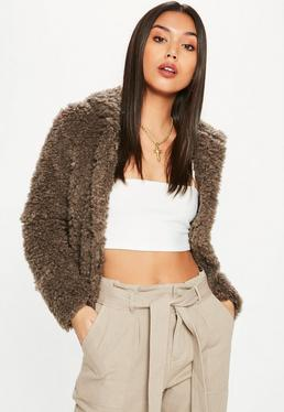 Brown Shaggy Hooded Faux Fur Coat