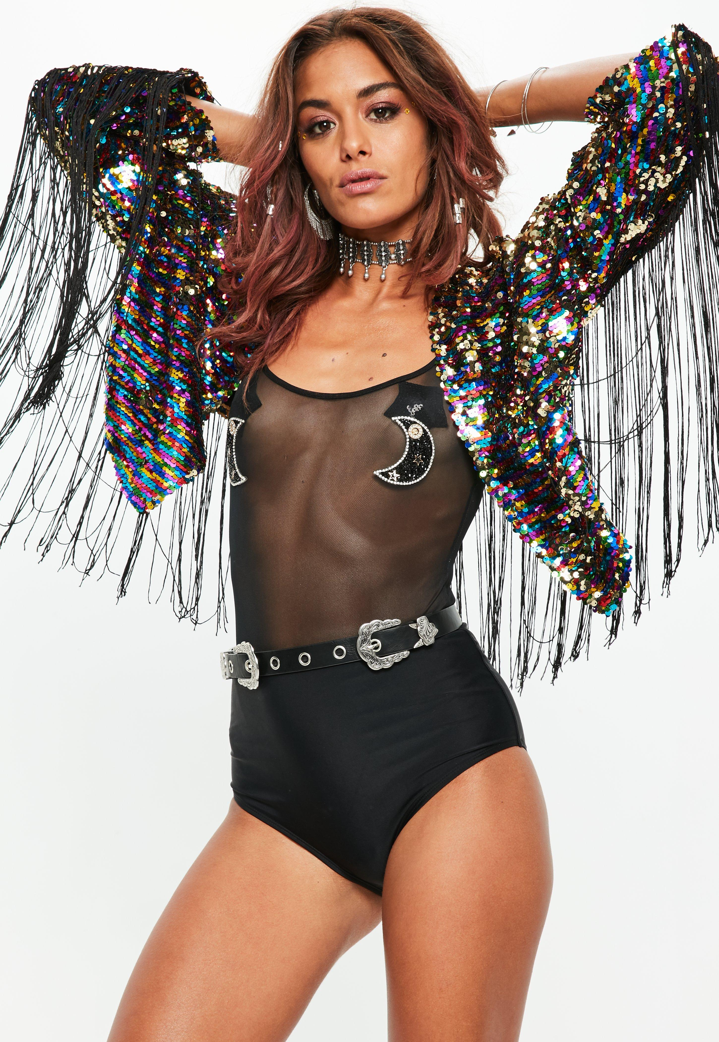 Missguided Black Sequin Fringe Festival Jacket Fashion Style For Sale Official Cheap Price Cheap Sale Real lGXfp9a3r