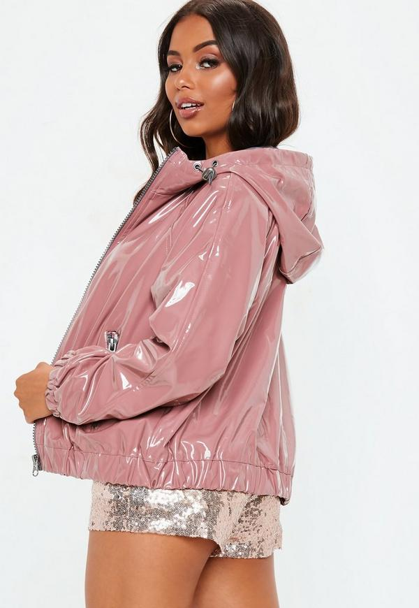 Pink High Shine Crop Rain Mac Hooded Jacket by Missguided