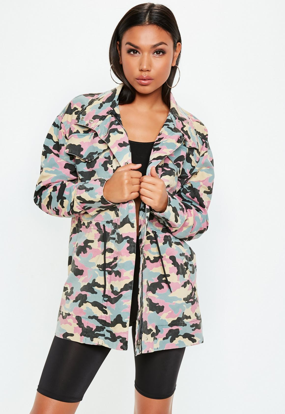 10d5c3f1 Missguided Barbie x Missguided Pink Logo Camo Jacket, Pink at £15 ...