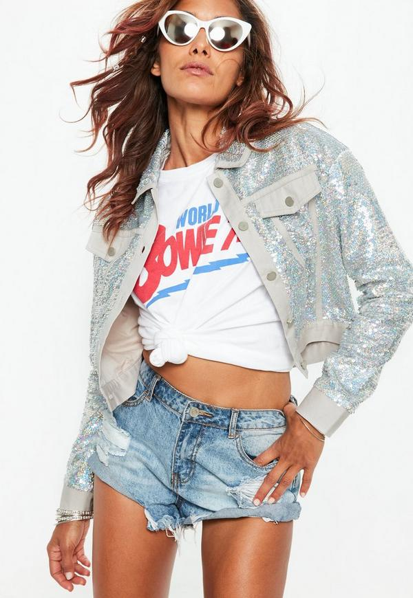 Silver Sequin Trucker Jacket by Missguided