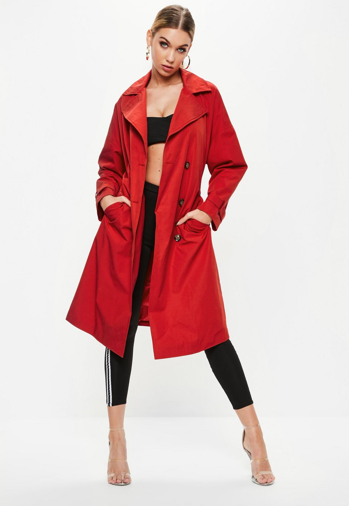 Lovely Red Oversized Classic Trench Coat | Missguided FE47