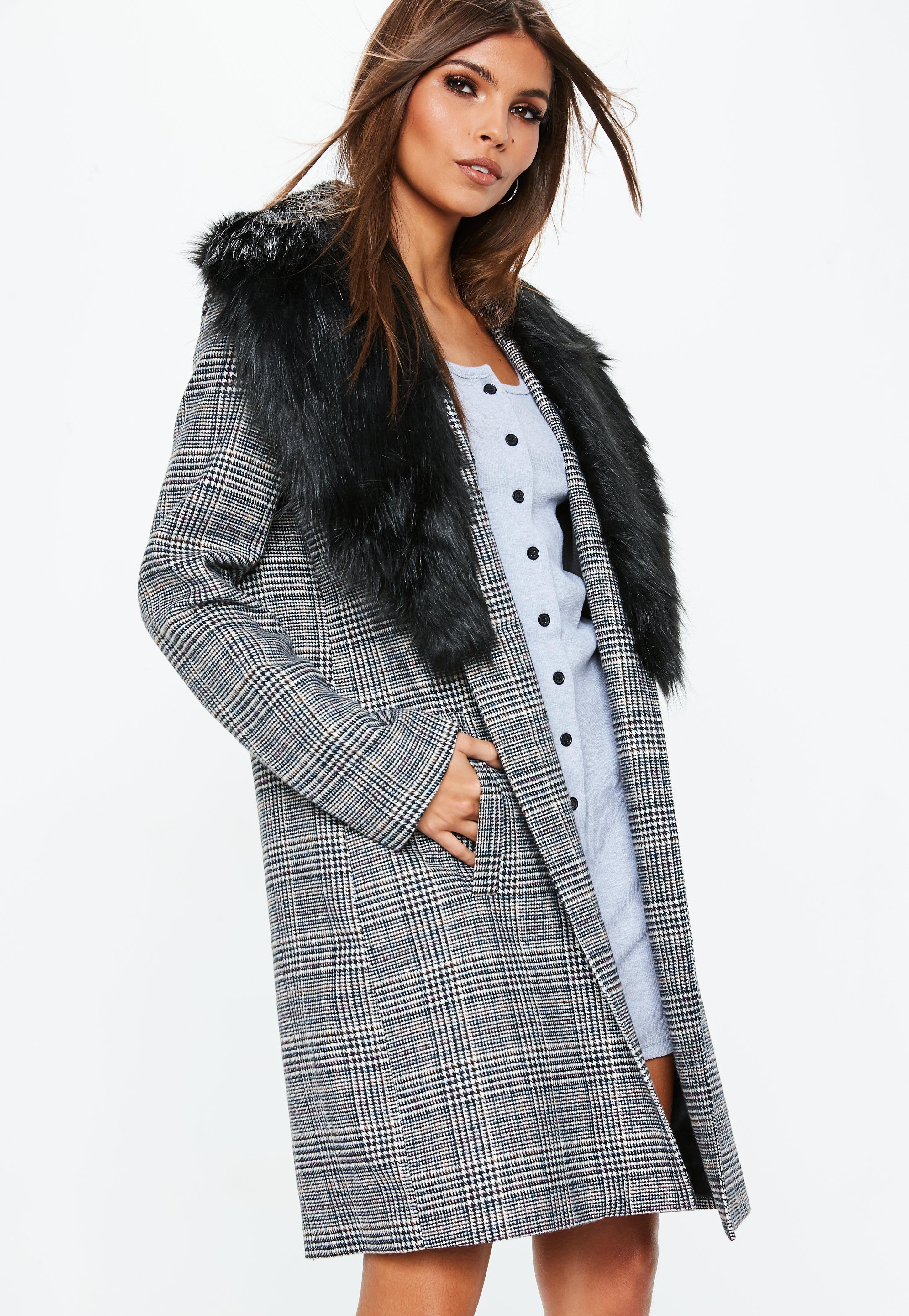 37116a424bf2 Grey Faux Fur Collar Check Coat