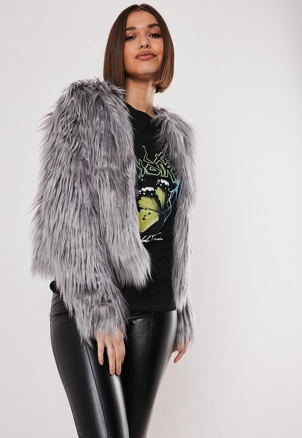 f04fd7da09f Grey Shaggy Faux Fur Coat