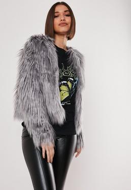 93ce85670e6 Grey Long Faux Fur Coats. Black Aviator Jackets. Grey Coats