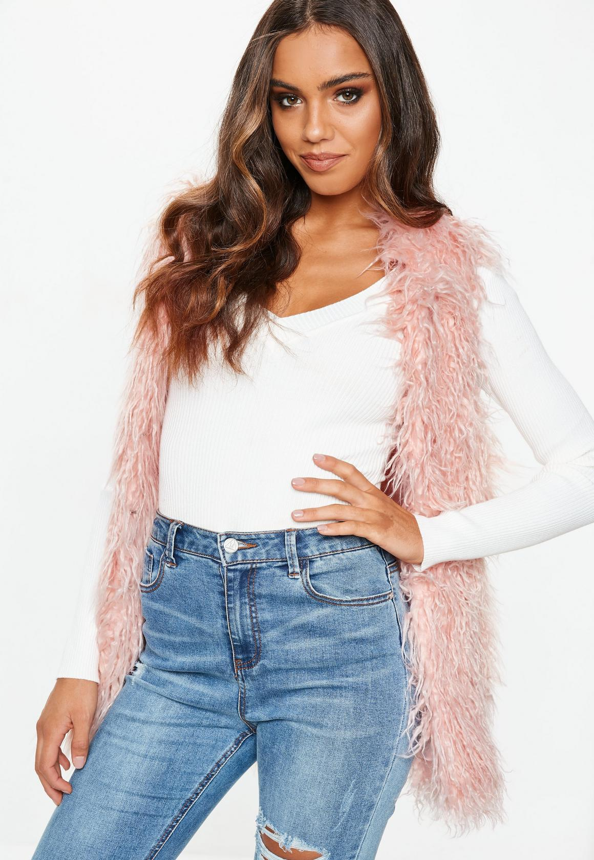 new concept f9f0b 9317d Faux-Fur Shaggy-Weste in Rosa