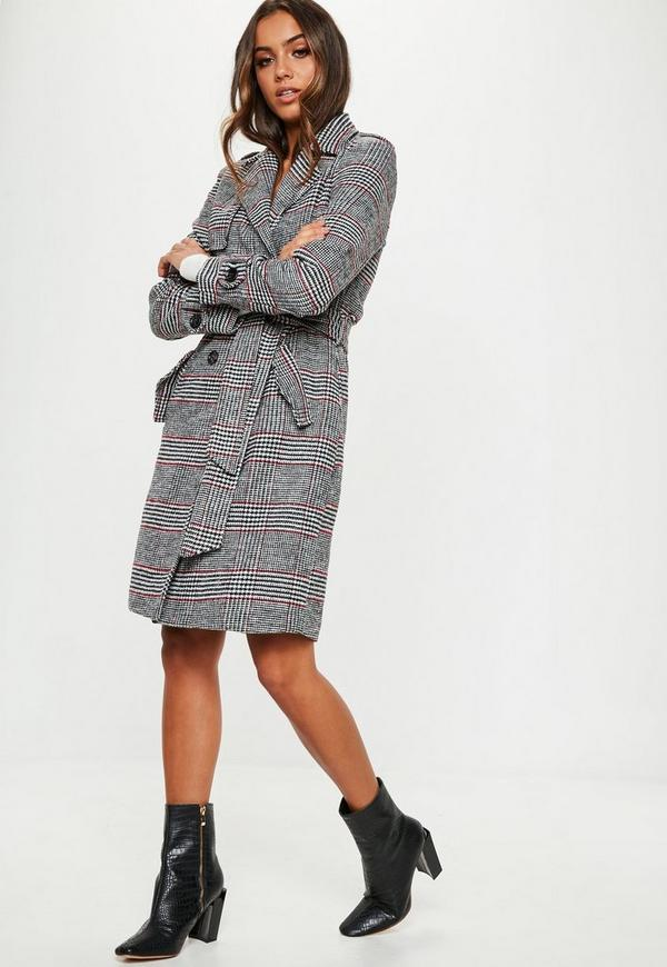 a3fcf6ee3e Black Check Formal Belted Trench
