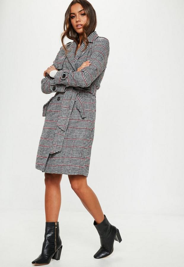 Missguided - Check Formal Belted Trench - 1