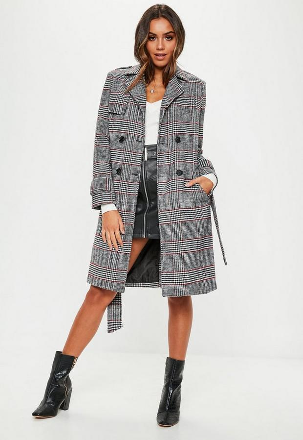 Missguided - Check Formal Belted Trench - 2