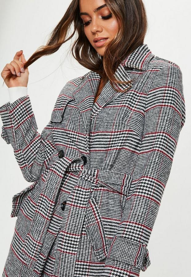 Missguided - Check Formal Belted Trench - 3