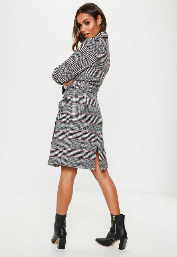 Missguided - Check Formal Belted Trench - 4