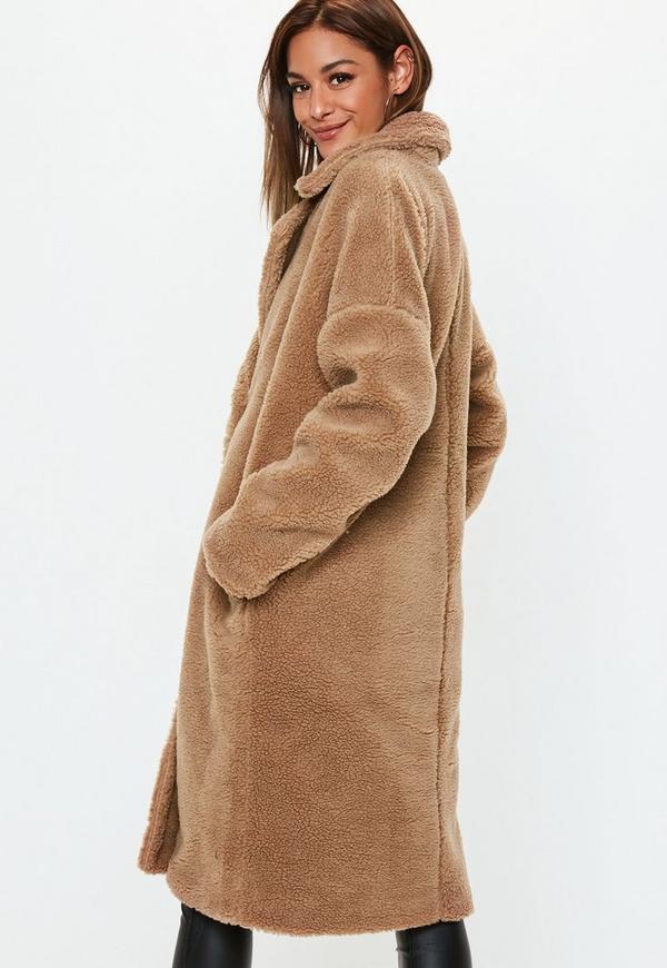 1fab0fd51 Camel Chunky Borg Teddy Coat